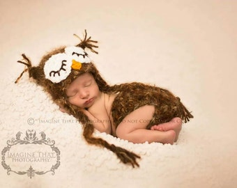 Baby Owl Hat and Diaper Cover Crochet Set--2 piece Sleepy Eye matching set--Fuzzy Newborn Photo Prop