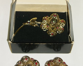 Vintage Earrings Brooch Sarah Coventry Gold Tone Red AB Rhinestones Book Pieces Statement Wedding Jewellry Bridal Party Prom Jewelry Gift