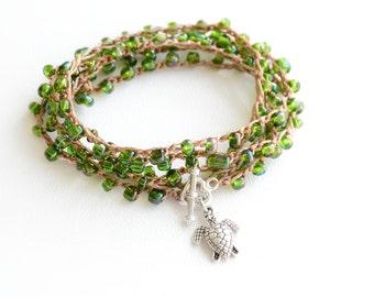 Sea Turtle Crochet Wrap Bracelet Seaturtle Rosary Beaded Bracelet Friendship Bracelet Long Necklace Beach Bracelet Beach Boho Jewelry