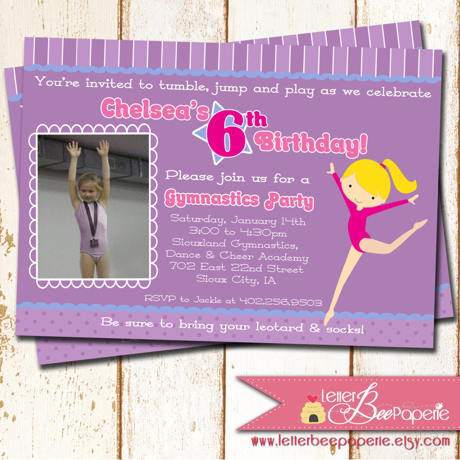 6th Birthday Invitation Wording Gymnastics Theme Party Photo By LetterBeePaperie