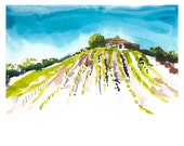 California Vineyards -  a watercolor painting, wine country art