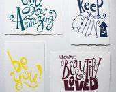 Hand Screenprinted Inspirational Postcards - Set of 4