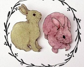 Bunny (Lapin) Illustrated Brooch