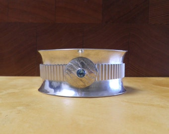 Blue topaz with Sterling Silver heavy anticlastic cuff corrugated
