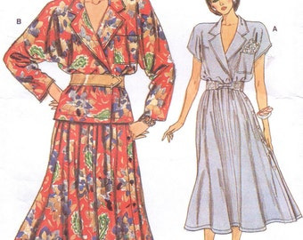 80s Womens Wrap Top & Skirt Vogue Sewing Pattern 9339 Size 8 10 12 Bust 31 1/2 to 34 UnCut Very Easy Very Vogue Patterns
