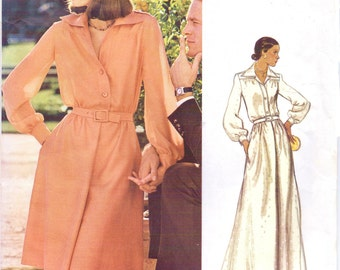 70s Valentino Womens Blouson Bodice Dress Wing Collar, Knee Length or Maxi Vogue Sewing Pattern 1063 Size 12 Bust 34 Couturier Design