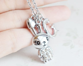 bunny necklace, wonderland, animal necklace, silver necklace, best friend gift, daughter gift,  personalized jewelry, peter rabbit necklace