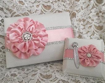 Rose Pink Ivory Satin Wedding Guest Book, Quinceanera Guest Book, Rose Petal Pink & Rhinestone Mesh Trim, Pen Set, Bridal Shower Guest Book