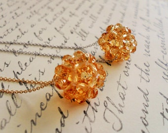 Floating Woven CRYSTAL Beaded Pendant  Necklace / Honey Topaz /  SWAROVSKI Crystal / Silver or Gold Chain / Simple / Minimalist / Gift Box