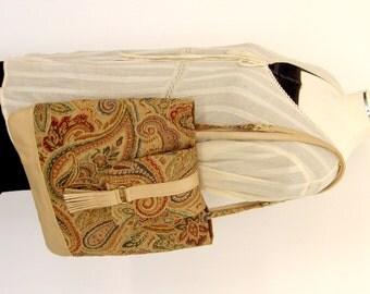 Recycled Leather & Paisley Handbag - Upcycled Beige Leather