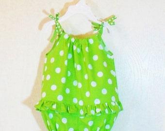 SUMMER SALE Baby Girls Bubble ROMPER Newborn to 2T Summer Outfit Polka Dot 3mo 6mo 9mo 12mo 18mo 24mo