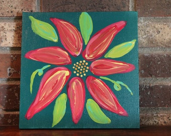Pink and Yellow Original Acrylic Flower Painting #2 on Canvas