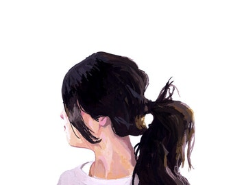 "8x10"" hair art - ponytail print - ""Ponytail 1"""