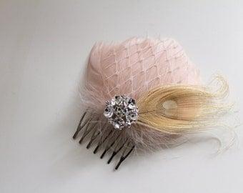 Wedding Bridal Champagne Blush Peacock Feather Rhinestone Jewel Ivory Veiling Head Piece Hair Comb Fascinator Accessory