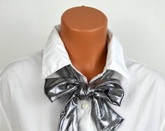 Metallic Silver Scarf Womens Neck Tie Lightweight Scarf Holiday Necktie Silver Head Wrap Hair Tie Neck Bow Sash Belt Womens Scarves hisOpal