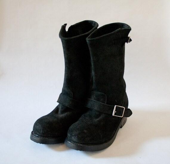 black suede steel toe engineer boots deadstock size 9 5