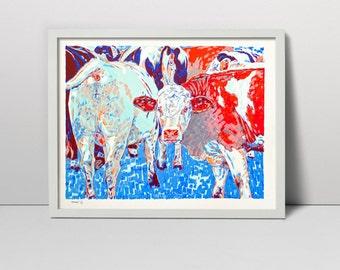 Cows Original Serigraph Hand Printed Screen Print Art 40 x 50 cm animal rural wall decor fine art