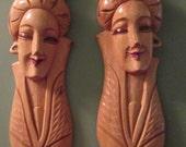 Mid Century Wood Asian Sculpture / Pair Asian Women Wall Hanging