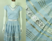 50s/60s - Baby Blue - Metallic Silver - Floral Ribbon - Bric Brac - Shirt - Circle Skirt - Belt Set - Mexican Patio Dress - Fiesta Fashions