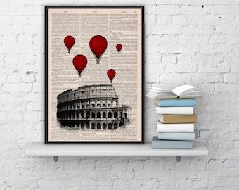 Rome Colosseum Balloon Ride Print on Vintage Book art,vintage book print  TVH039