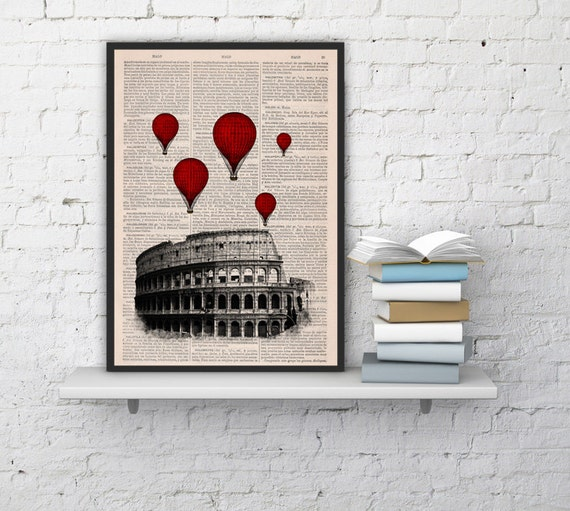 Spring Sale Rome Colosseum Balloon Ride Print on Vintage Book art,vintage book print  BPTV039