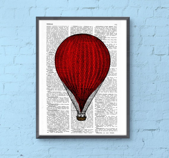 Christmas Sale Red Hot Air Balloon Print, Wall art Dictionary Print, Balloon Illustration art decor wall hanging nursery art TVH080