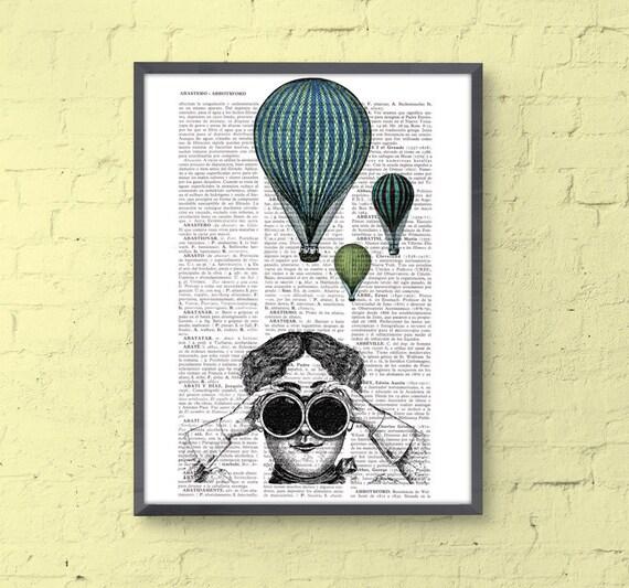 Hot air balloon ride  antique ilustration print  on vintage book BPTV050