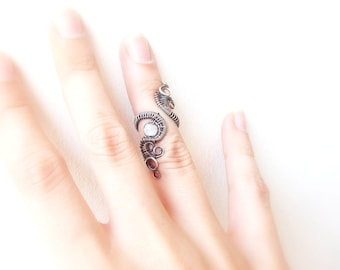 Rare Silver Knuckle Ring with Rainbow Moonstone, Adjustable Midi Ring, Mid Finger ring, Gothic ring, boho ring, moonstone ring, midi ring