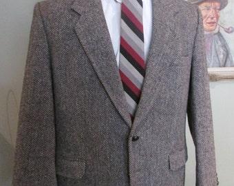 Vintage Mens Tweed Jacket-Mens Herringbone Tweed Blazer Mens Tweed Size 42-Mens Brown Herringbone Tweed size 42