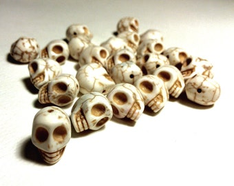30 Bone White Day Of The Dead Sugar Skull Beads - Dyed Howlite Tuquoise - 1/2 Inch / 12mm
