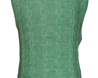 40 / Medium Light Green Cable Knit Pullover Men's Sweater Vest