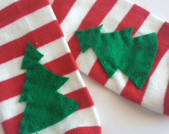 Christmas Leg Warmers, Christmas Tree Applique on Red and White Striped baby leg warmers