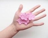 Flower Applique, Crochet Light Pink Star Flowers, Embellishment, Pale Light Pink, Set of 7, Party Decorations, Crochet Motifs