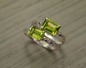 Peridot Ring, all sizes, emerald cut silver milgrain solitaire, August Birthstone - Fitz Ring