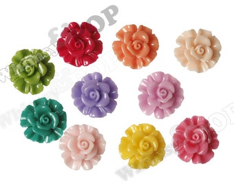 Mixed Color Rose Beads, Resin Flower Beads, Drilled Roses, 19mm (R7-005/006)