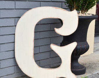 """24"""" Wooden Letter G, Elegant Font in Distressed Ivory - all letters available in many colors"""