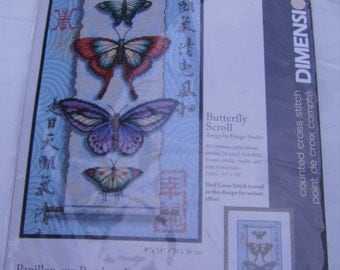 Counted Cross Stitch Butterfly Scroll-Dimensions