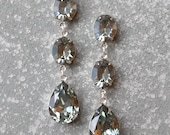 Grey Earrings Swarovski Crystal Gray Black Diamond Vintage Rhinestone Earrings Tear Drop Dangle Pear Crystal Earrings Fiesta Mashugana