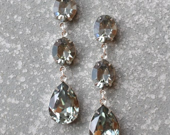 Grey Earrings Swarovski Crystal Gray Black Diamond Vintage Rhinestone Earrings Tear Drop Dangle Pear Crystal Earrings Fiesta Mashugana