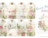 BLUE SKY & ROSES -  Gift Tags - Instant Download - Hangtags - Tag