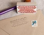 Custom return address stamp LEAF & LAUREL with wood handle - cursive script calligraphy stamp