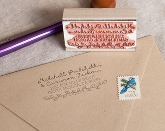 Custom return address stamp LEAF & LAUREL with wood handle - cursive script calligraphy stamp