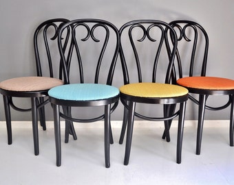 Vintage Bentwood Cafe Chairs - Set of Four Thonet Style Dining Chairs