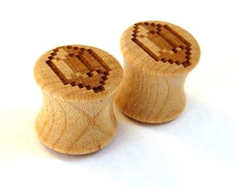 """8-Bit Gamer Bling - Maple Wooden Plugs PAIR (10mm) 7/16"""" (11mm) 1/2"""" (13mm) 9/16"""" (14mm) 5/8"""" (16mm) 3/4"""" (19mm) 7/8"""" (22mm) 1"""" and more"""