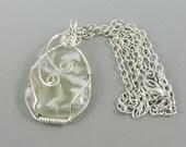 Wire Wrapped Gemstone Necklace, Ochoco Plume Agate, Wire Wrapped Agate, White Gemstone Jewelry