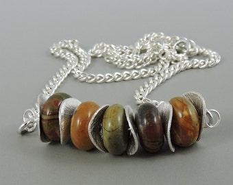 Red Creek Jasper Necklace, Gemstone Necklace, Jasper Jewelry, Bar Necklace