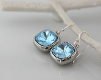 Aquamarine Earrings with Cushion Cut Swarovski Crystals - March Birthstone - Birthstone Jewelry