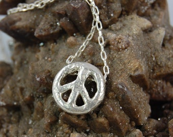 Peace Sign, SILVER Peace Sign Necklace, Peace Necklace, Peace Jewelry, Tiny Necklace, Delicate Necklace, in Sculpted Recycled Sterling