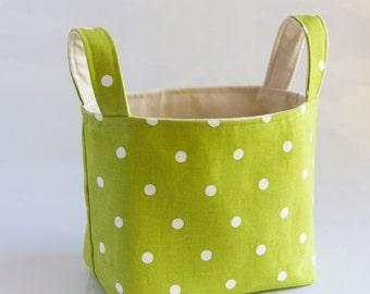Ready to Ship Easter basket  Lime green polka dot  fabric basket fabric storage bin  home organizer toy storage bin  cotton canvas basket