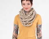 winter scarf, Fall Scarf, crochet scarf, knit scarf, Oatmeal Cowl, Scarf, Infinity Scarf, Chain Scarf  (The Chain Scarf in Oatmeal)